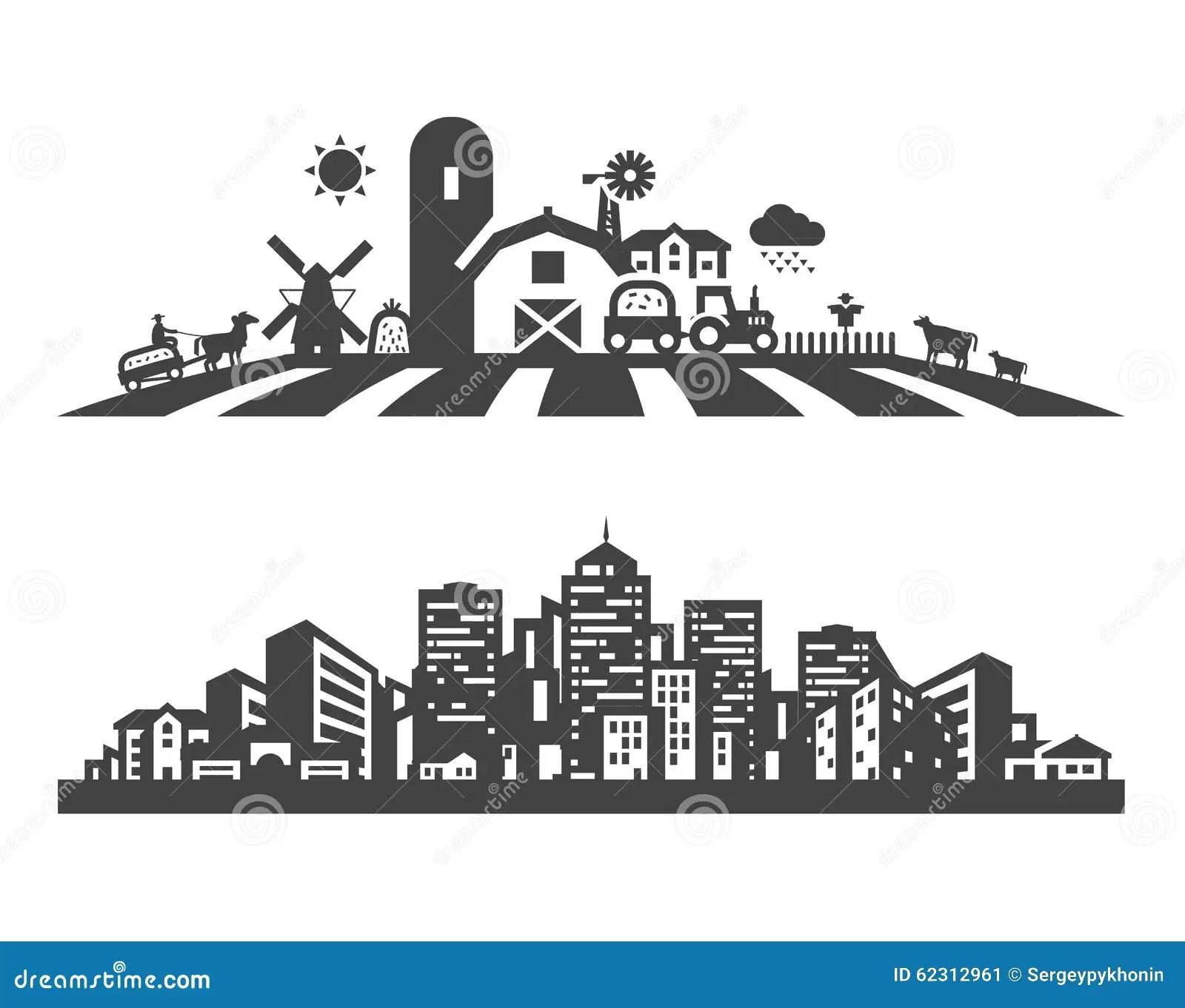 Farm And City Vector Logo Design Template Stock Vector