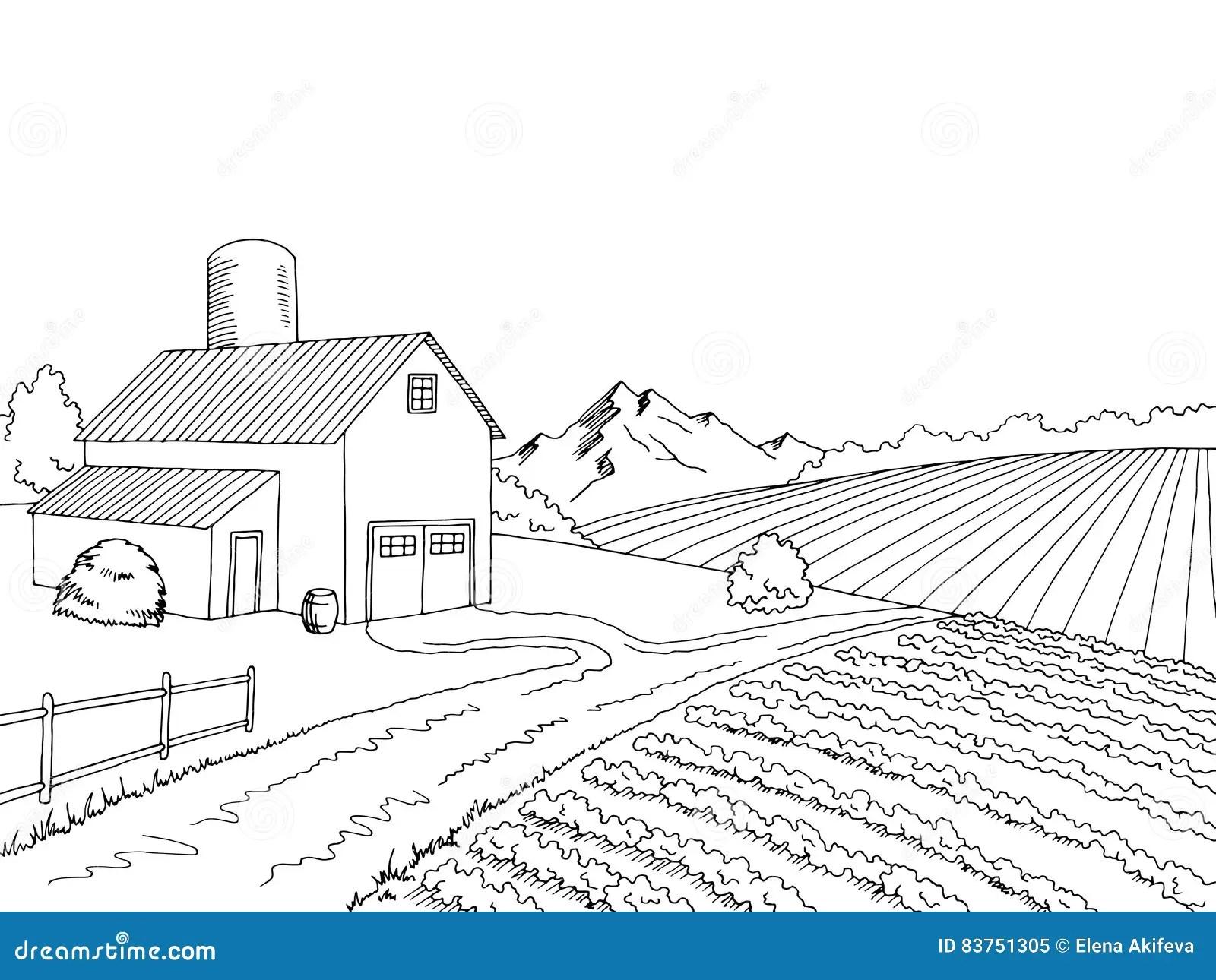 Farm Field Graphic Black White Sketch Illustration Stock