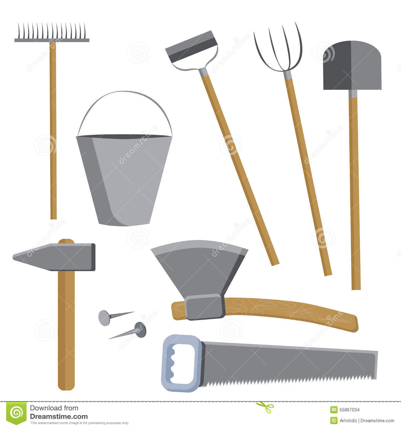 Farm Tools Set Stock Vector