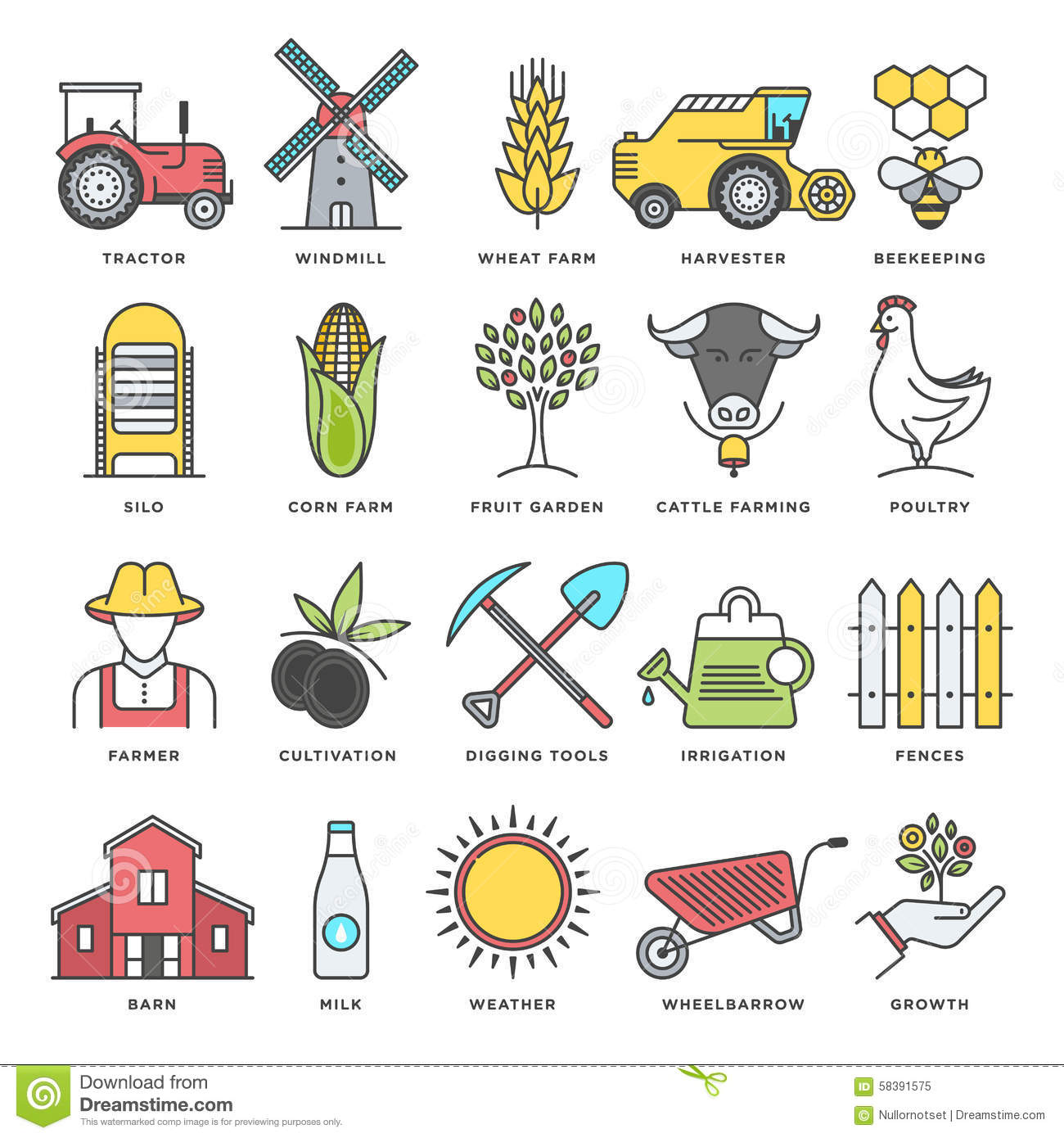 Farming And Agriculture Flat Line Icon Set Stock Vector