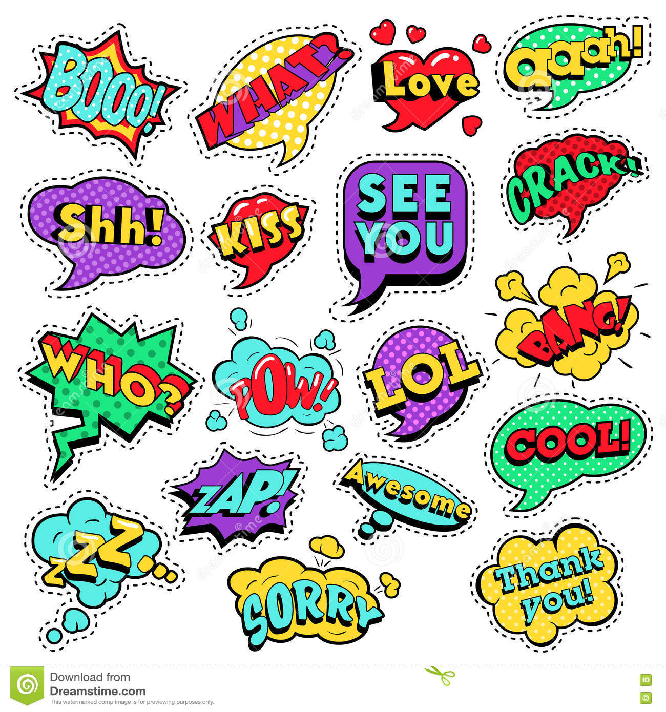 Fashion Badges Patches Stickers In Pop Art Comic Speech