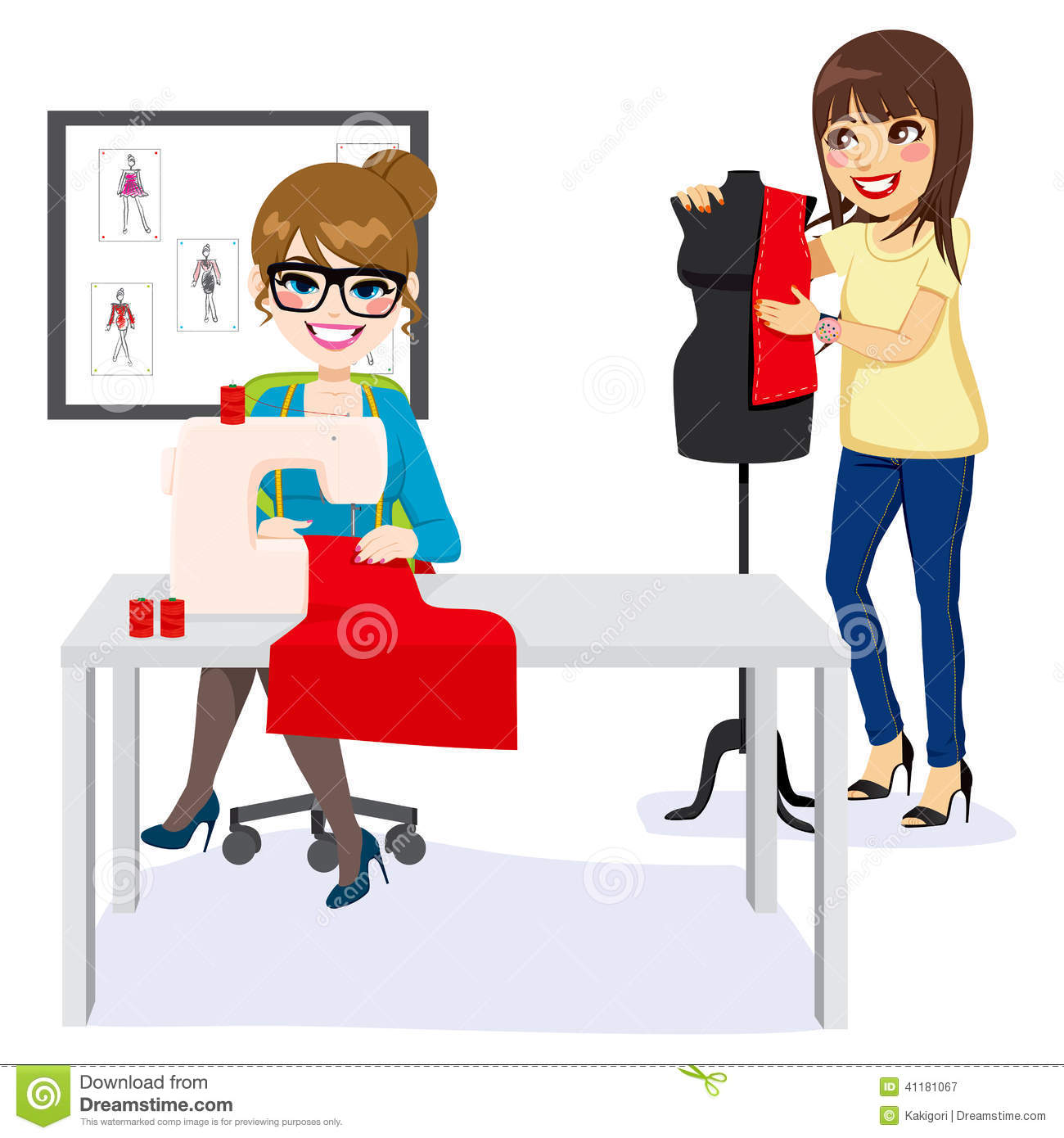 Fashion Designer And Assistant Stock Vector