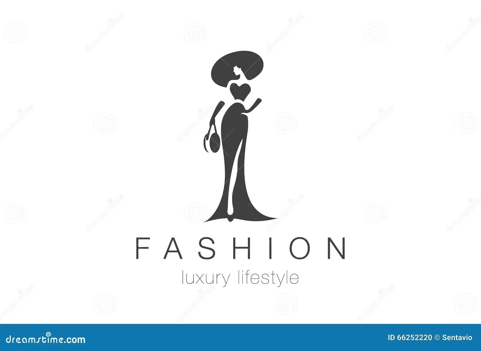 Fashion Elegant Woman Logo Lady Negative Space Jewelry