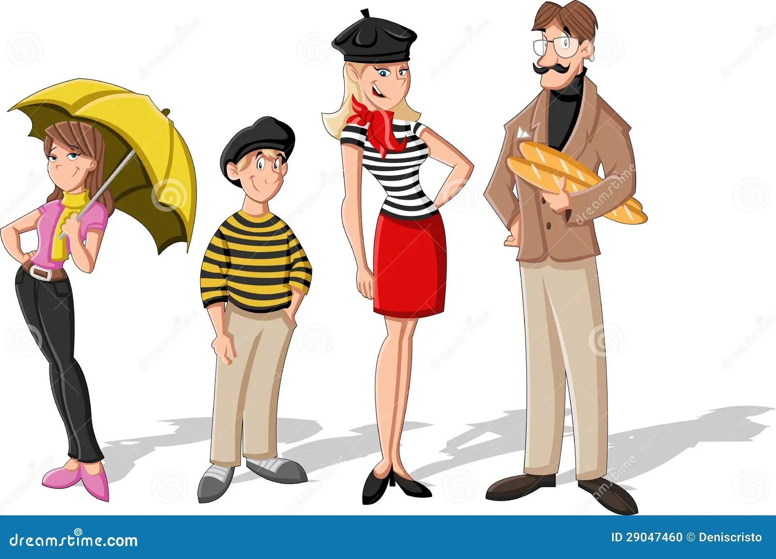 Fashion French Cartoon Family Stock Vector