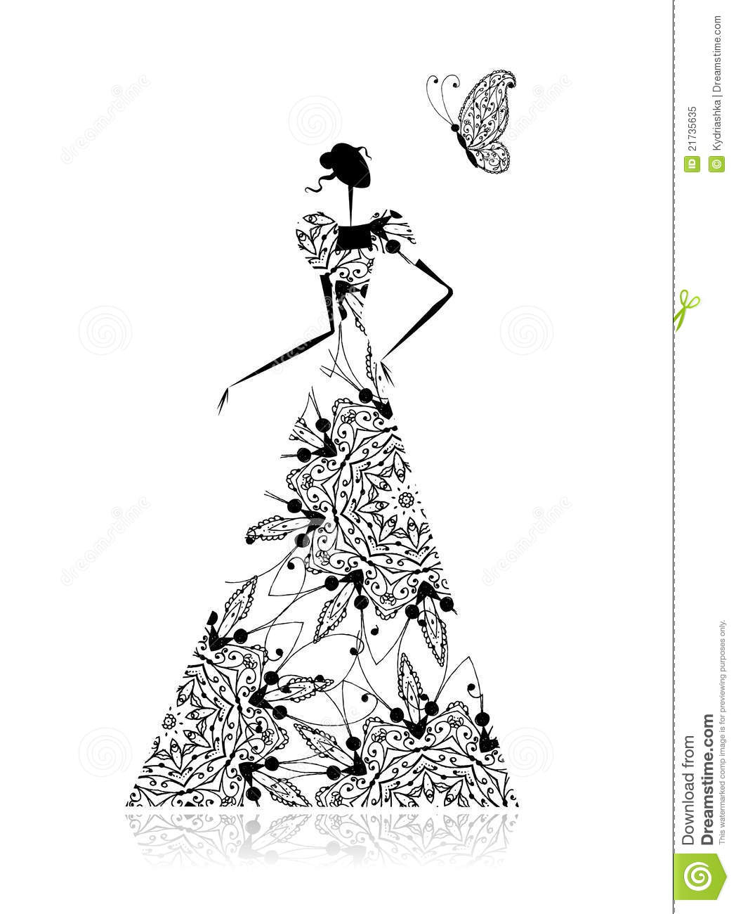 Fashion Girl Silhouette In Wedding Dress Royalty Free