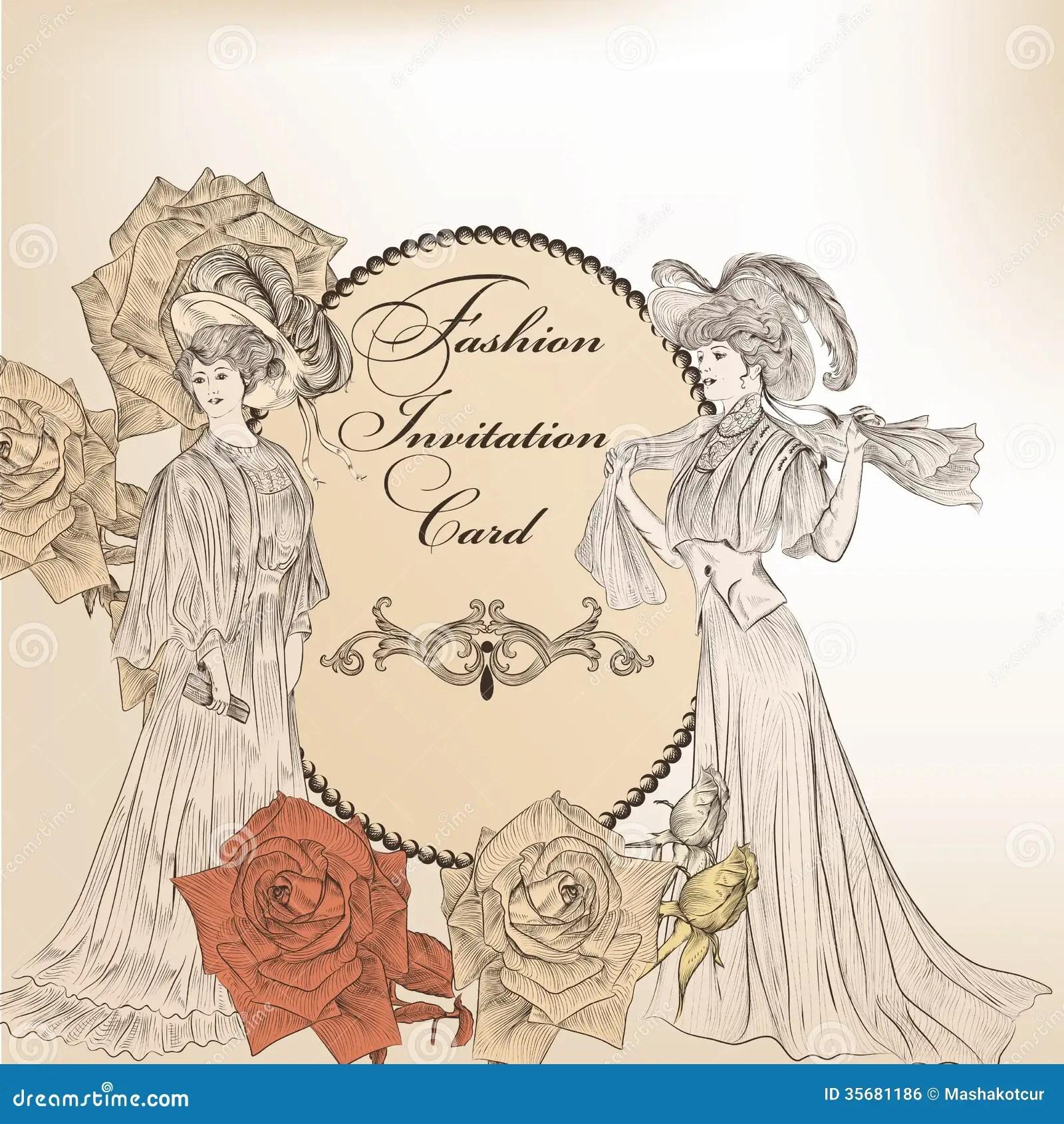 fashion or wedding invitation card for design stock vector illustration of girl floral 35681186