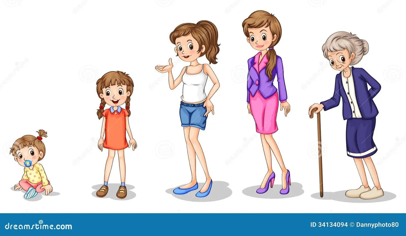 Fasi Di Crescita Femminile Illustrazione Vettoriale