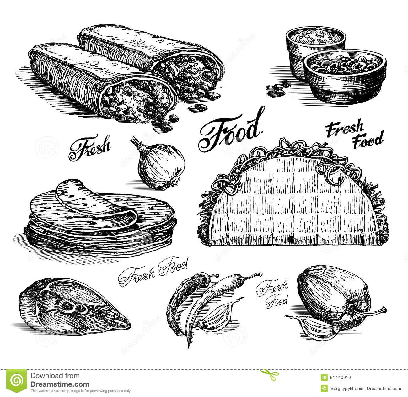 Fast Food Burritos And Tacos On White Background Stock