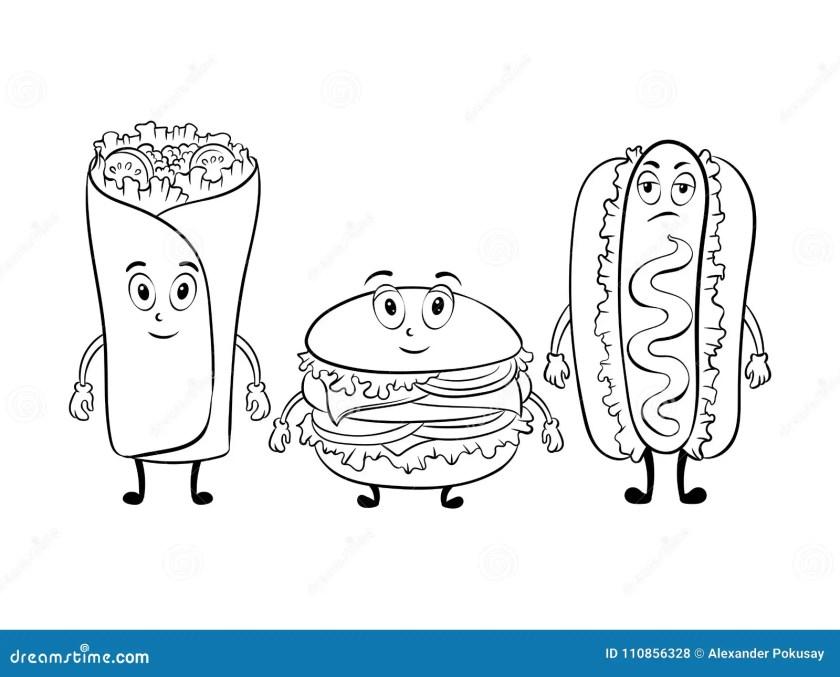 fast food cartoon coloring book vector stock vector