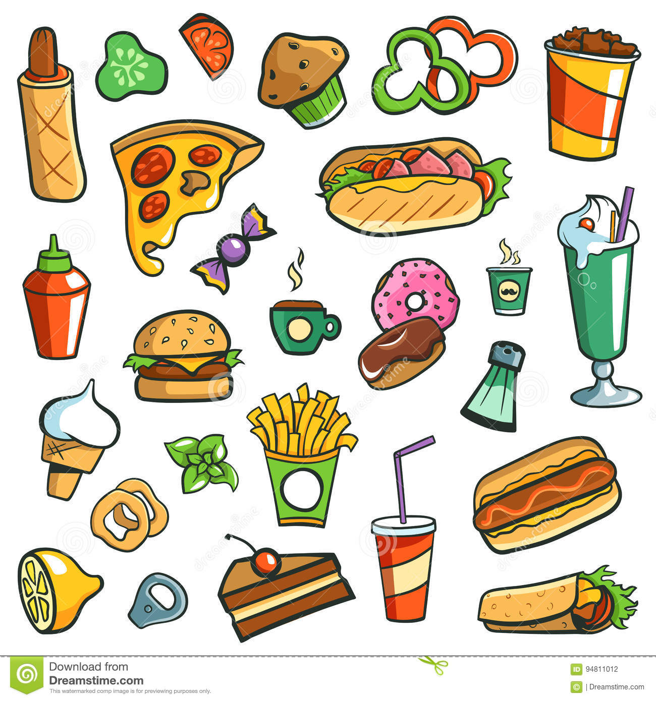 Fast Food Drawings White Background Stock Illustration