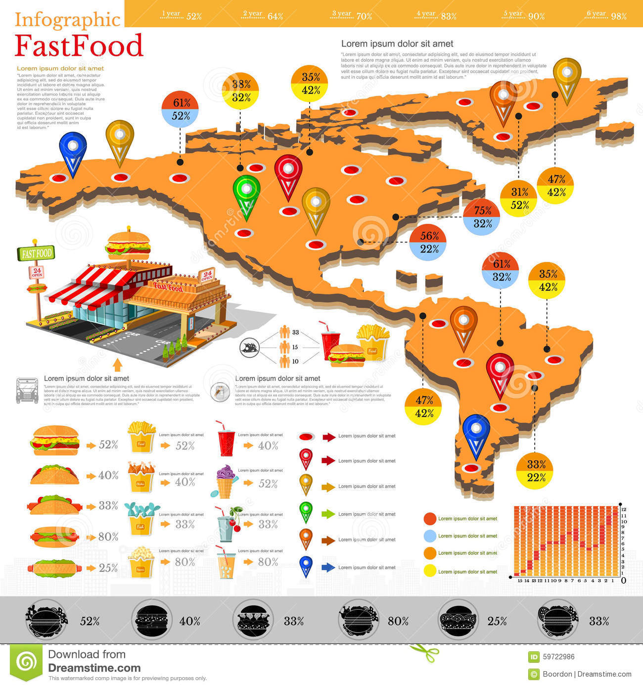 Fast Food Infographic Map Of America And Mexico With