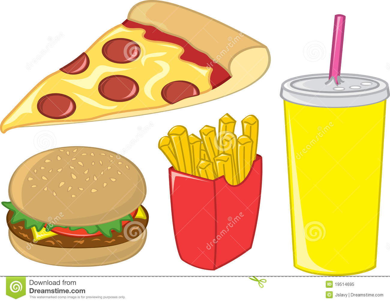 Fast Food Items Stock Vector Illustration Of Healthy 19514695
