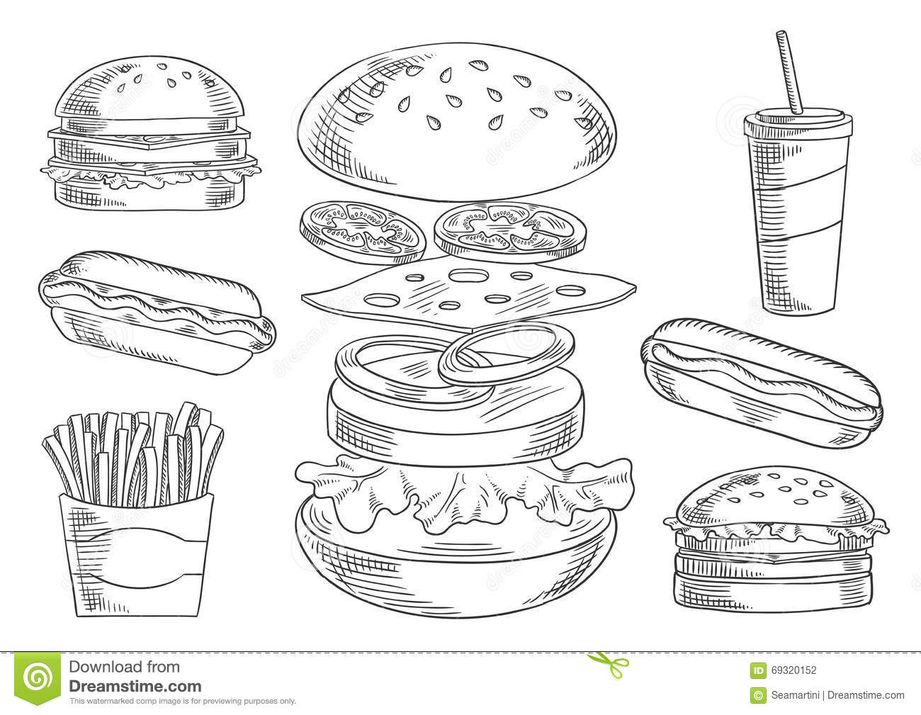 Fast Food Snacks And Drinks Sketches Stock Vector
