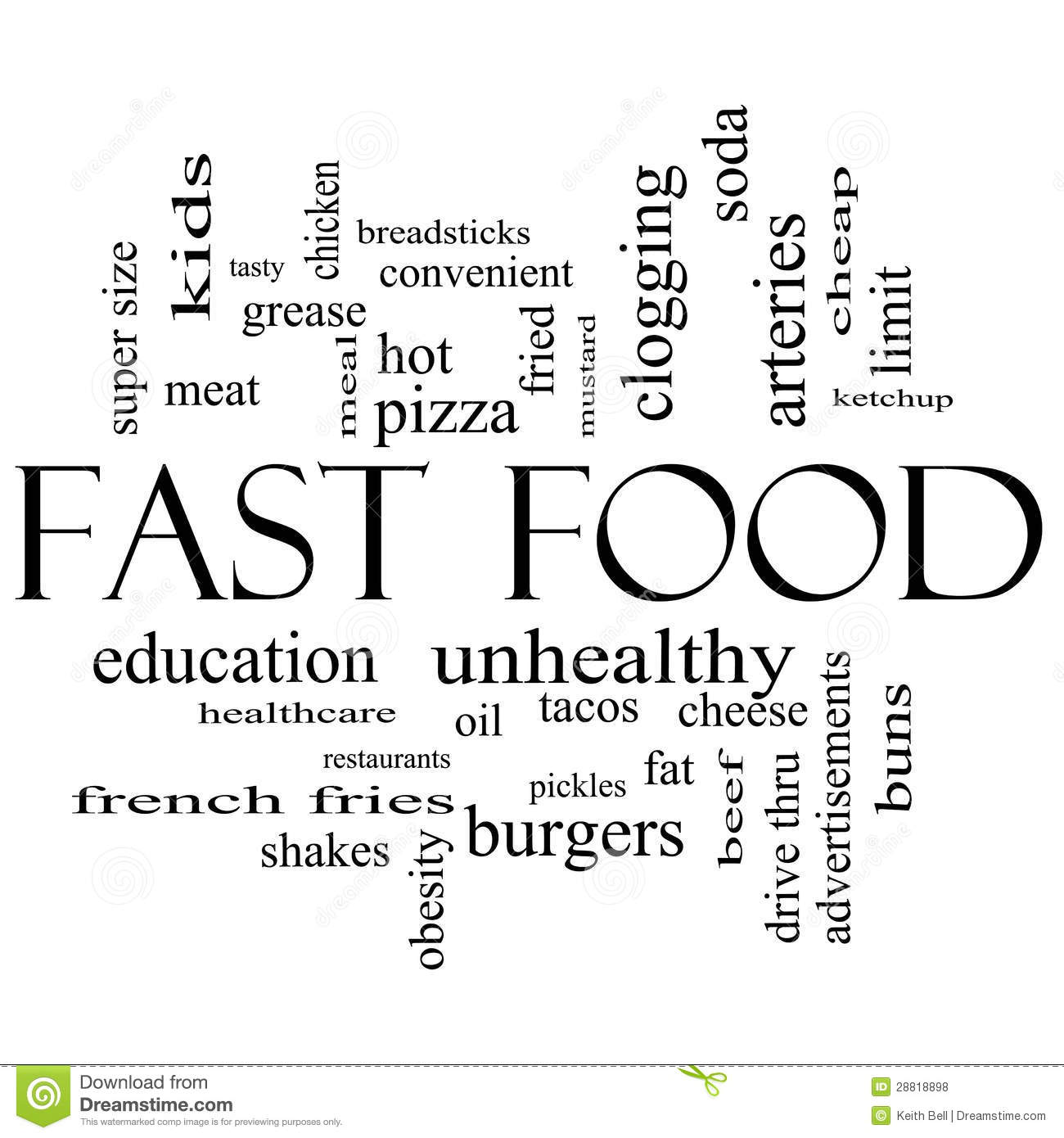 Fast Food Word Cloud Concept In Black And White Royalty