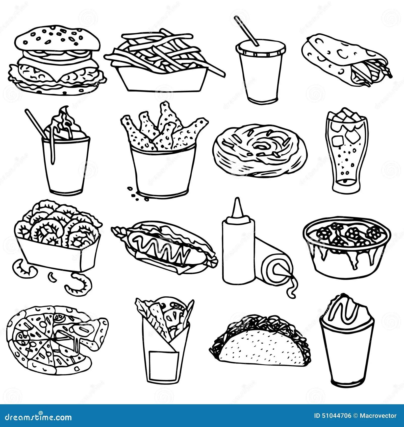 Fasta Food Menu Ikon Czerni Kontur Ilustracja Wektor