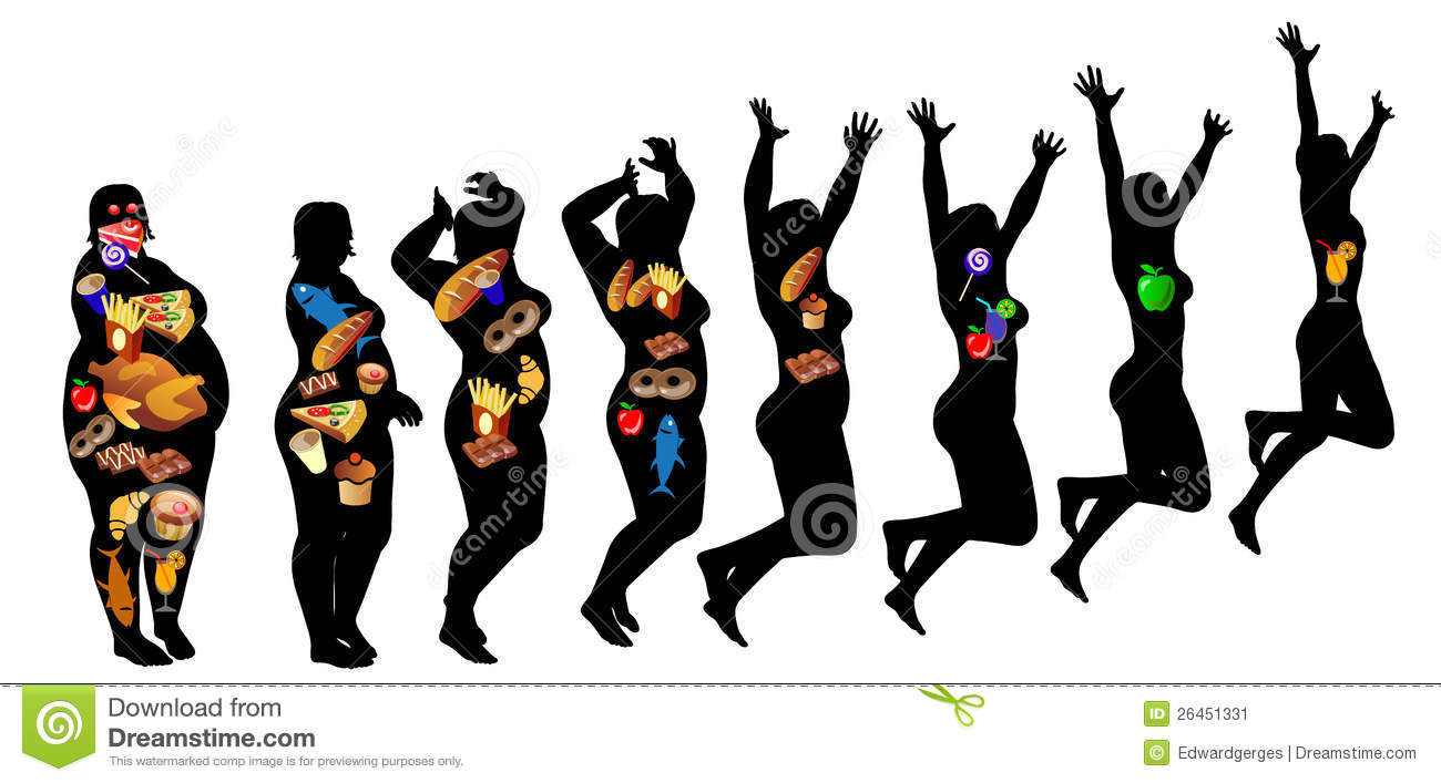 Fat Fit Diet Loss Weight Success Stock Vector