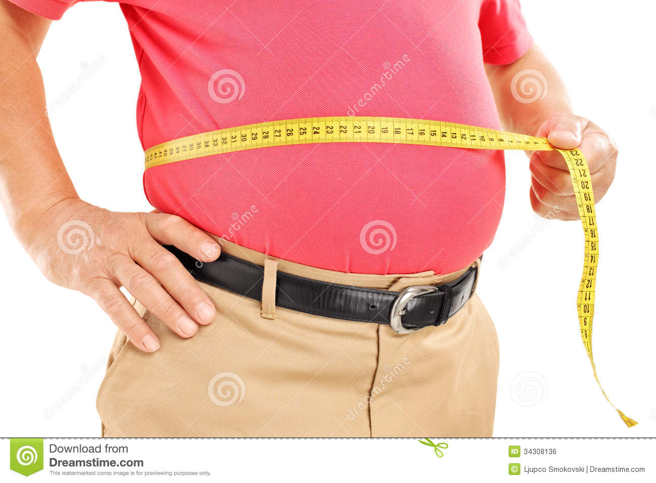 Fat Mature Man Measuring His Belly With Measurement Tape