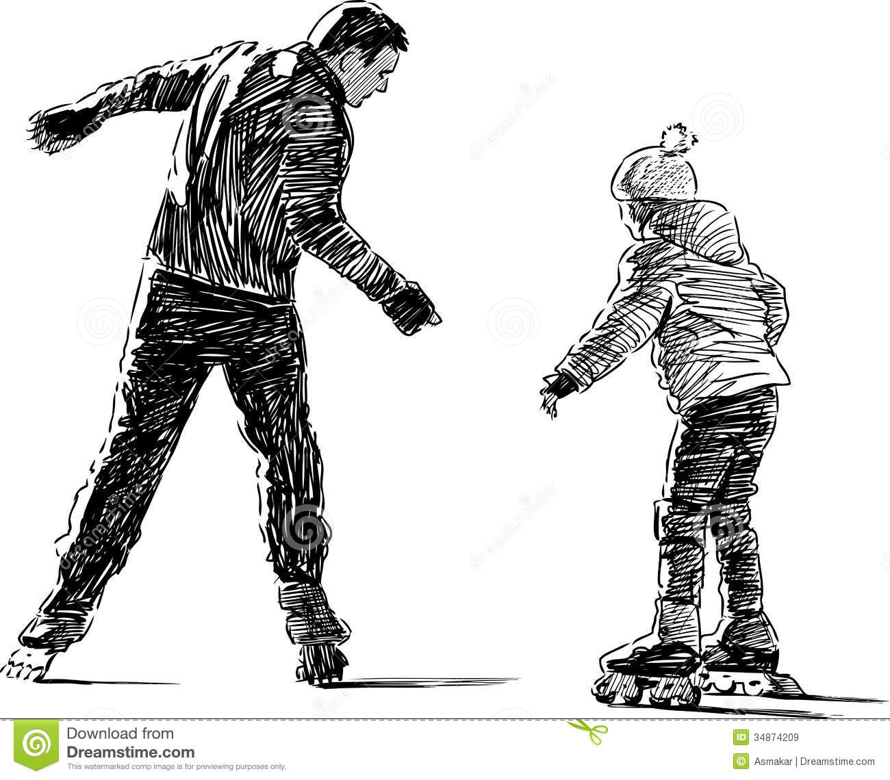 Father And Daughter On Roller Skates Royalty Free Stock