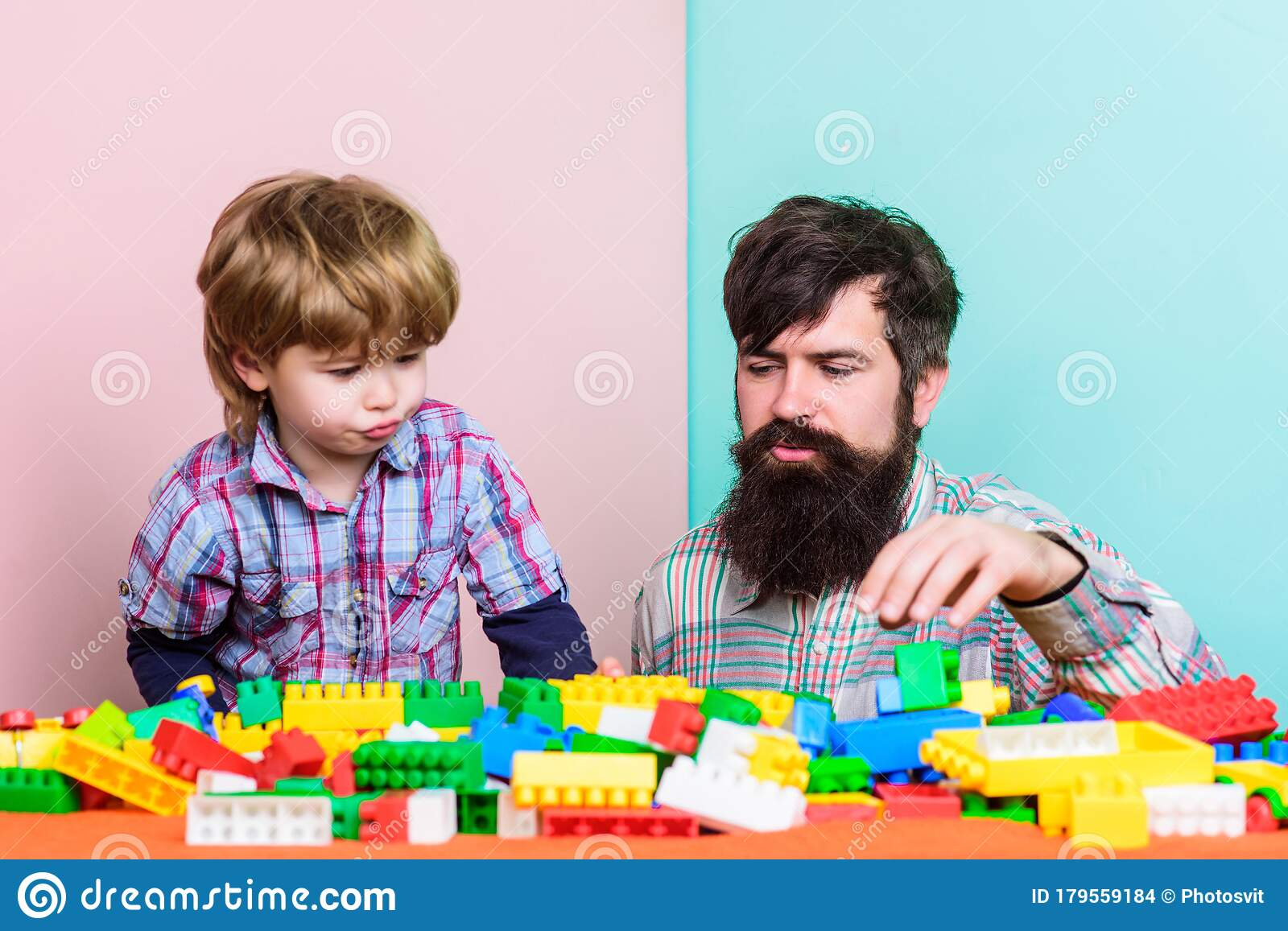 Father Leader Showing Boy How Grow Into Successful Man