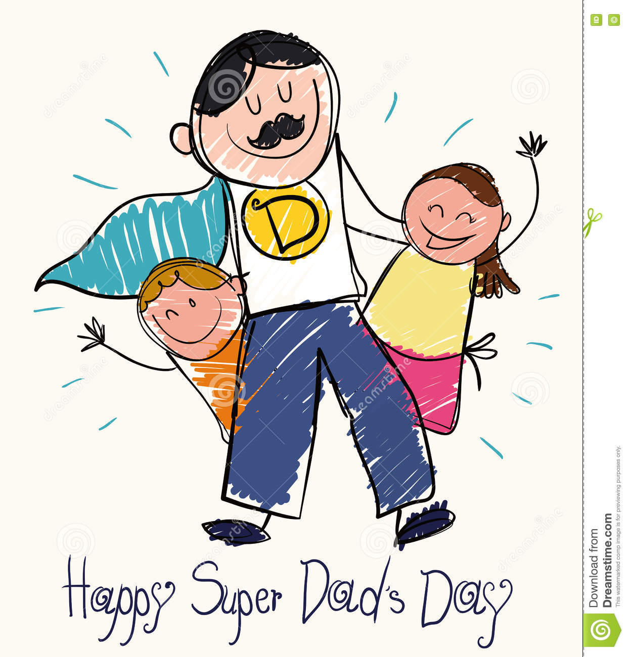 Father S Day Drawing With Children And Super Dad Vector