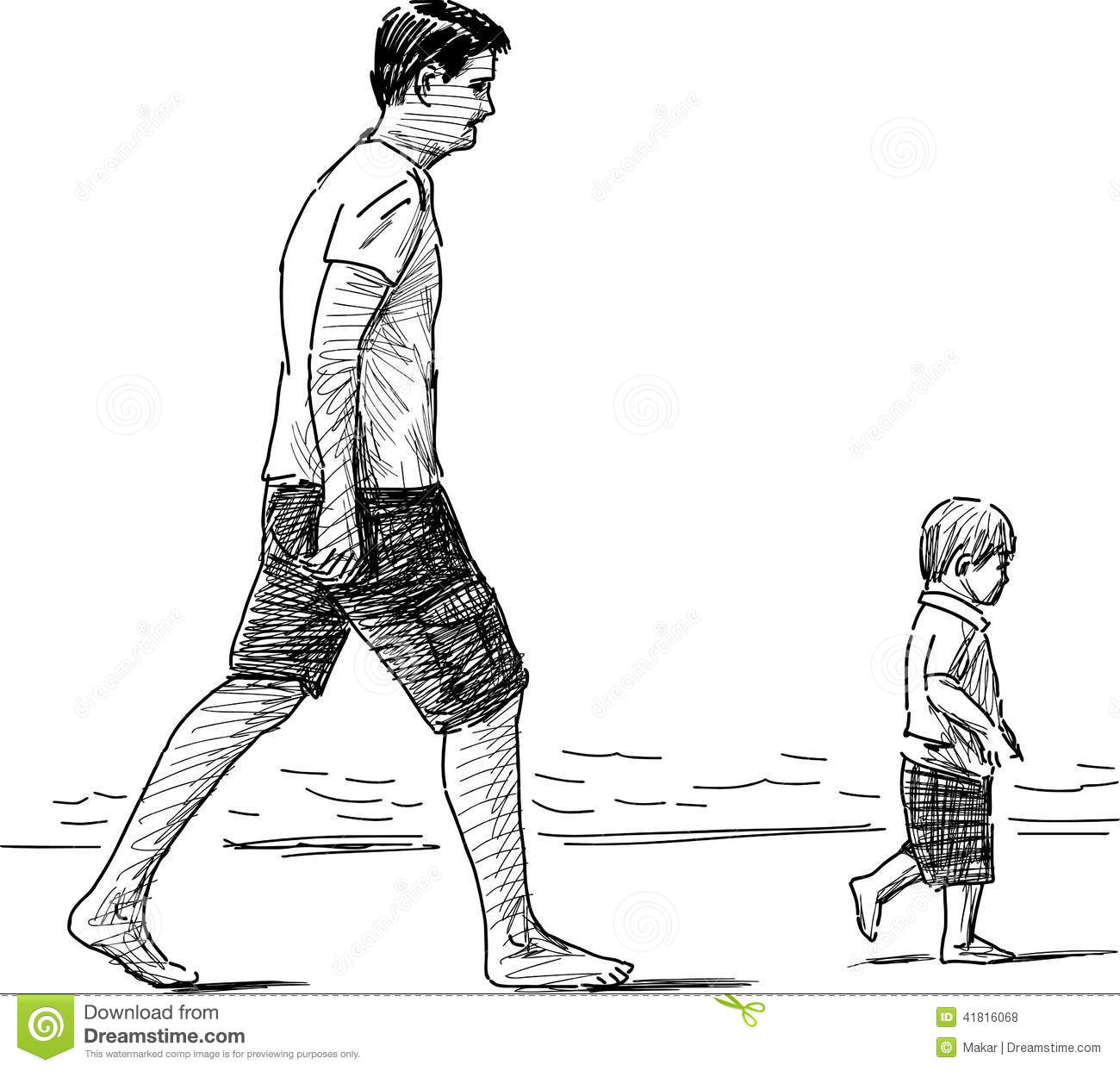 Father And Son On A Beach Stock Vector Illustration Of