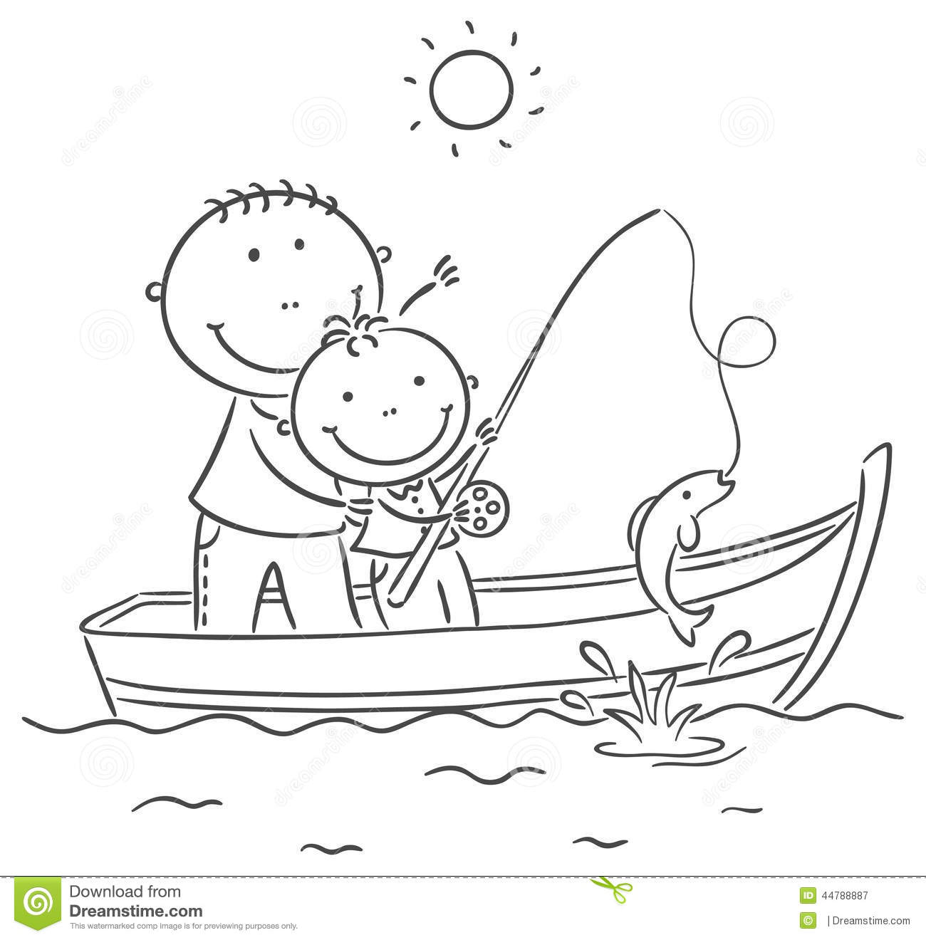 Father And Son In The Boat Fishing Stock Vector