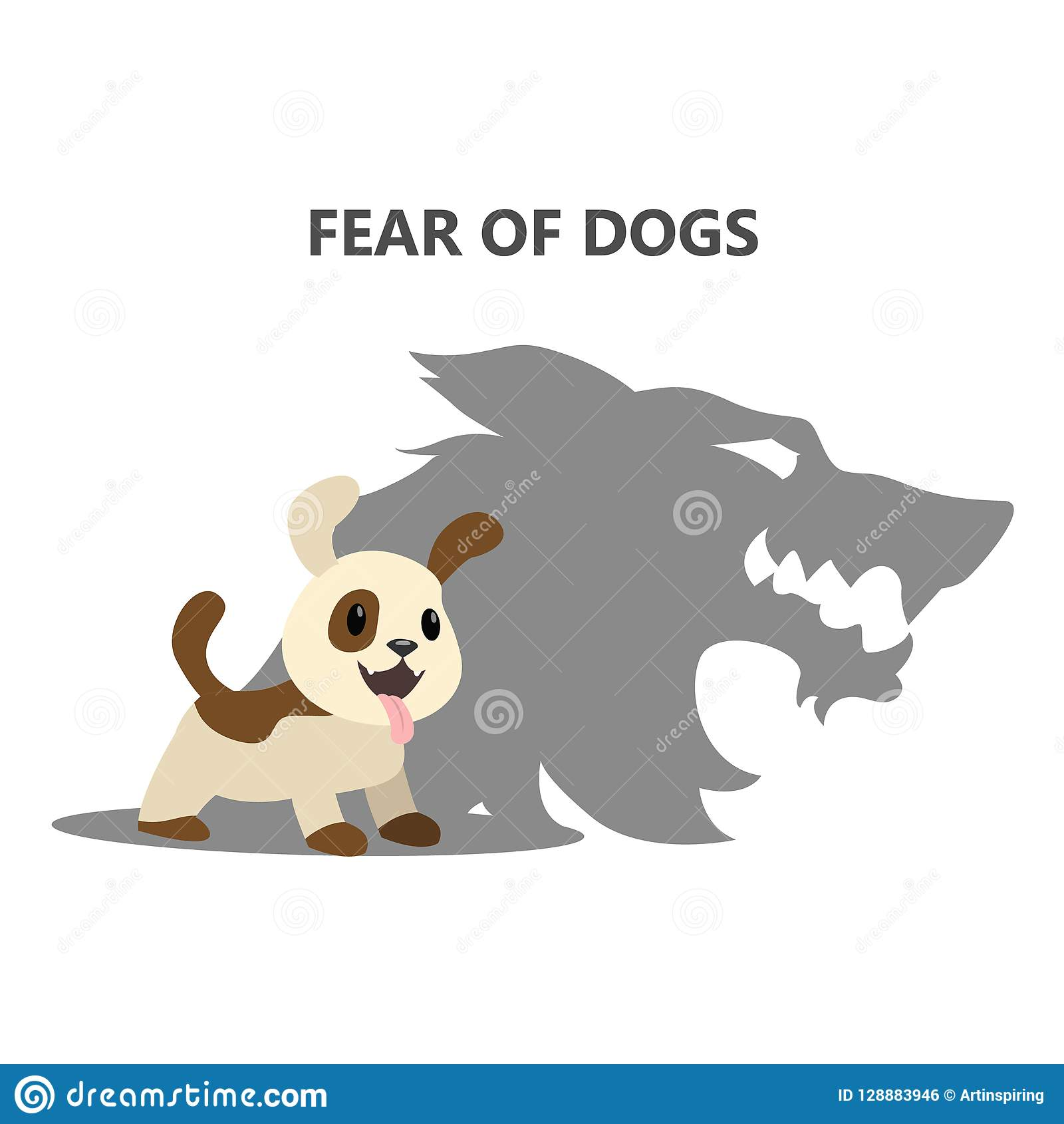 Fear Or Phobia Of Dogs Social Anxiety Stock Vector