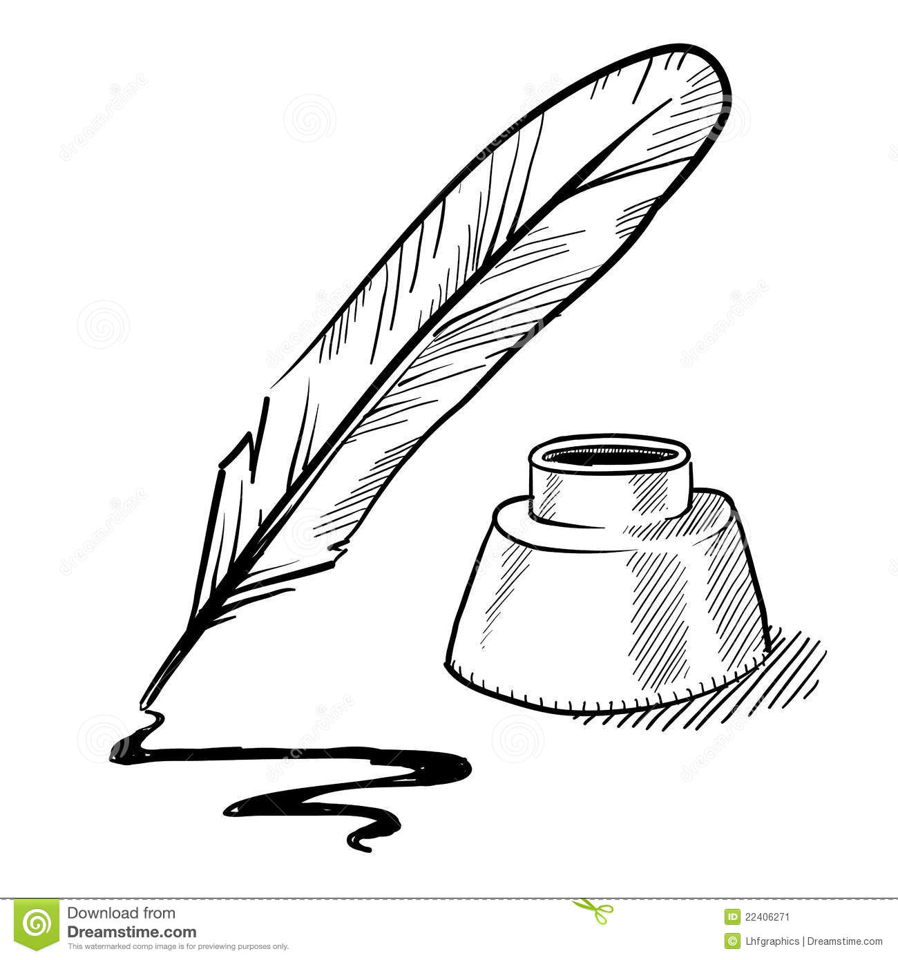 Feather Pen And Inkwell Drawing Stock Vector