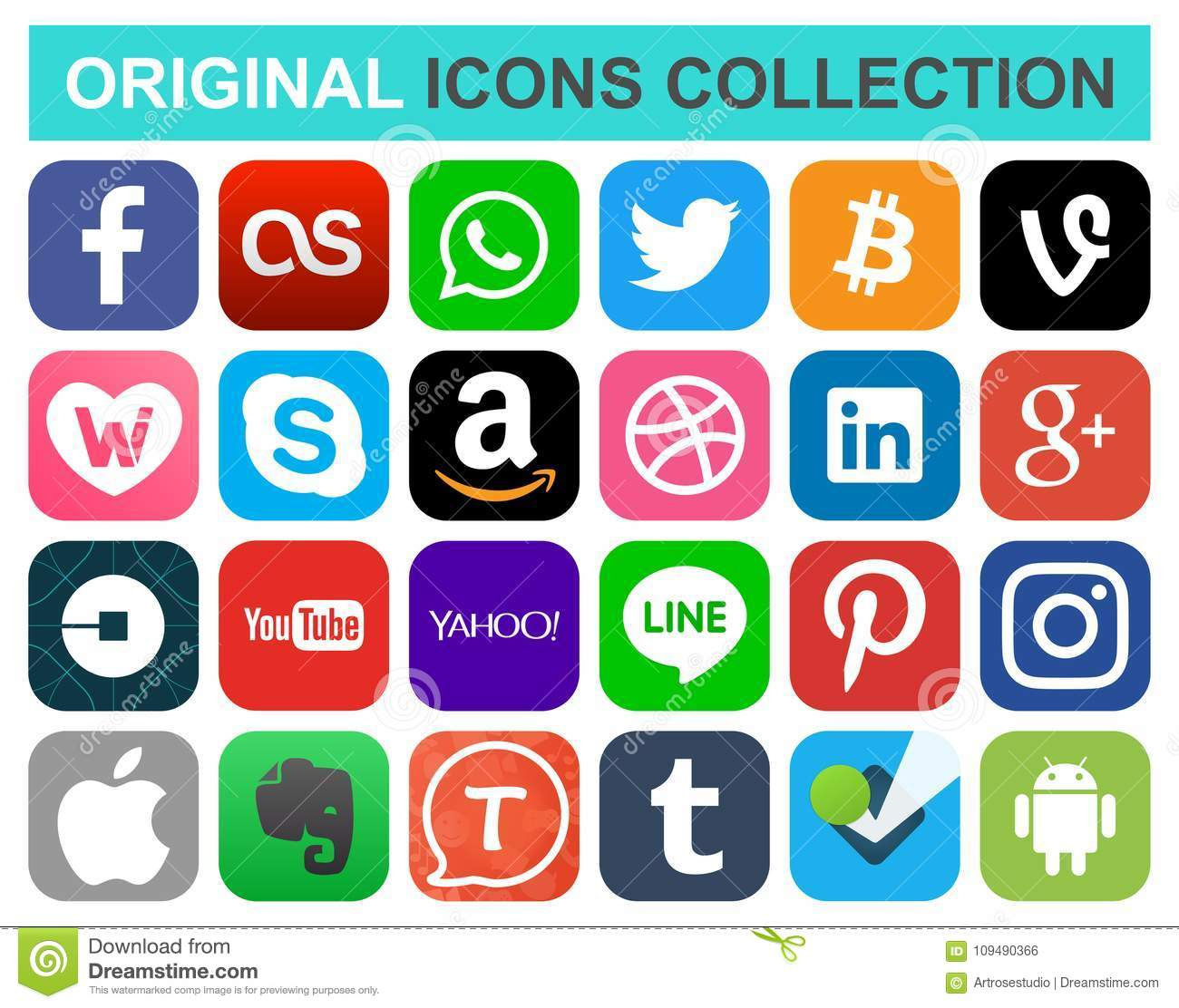 Popular Social Media And Other Icons Editorial Photo