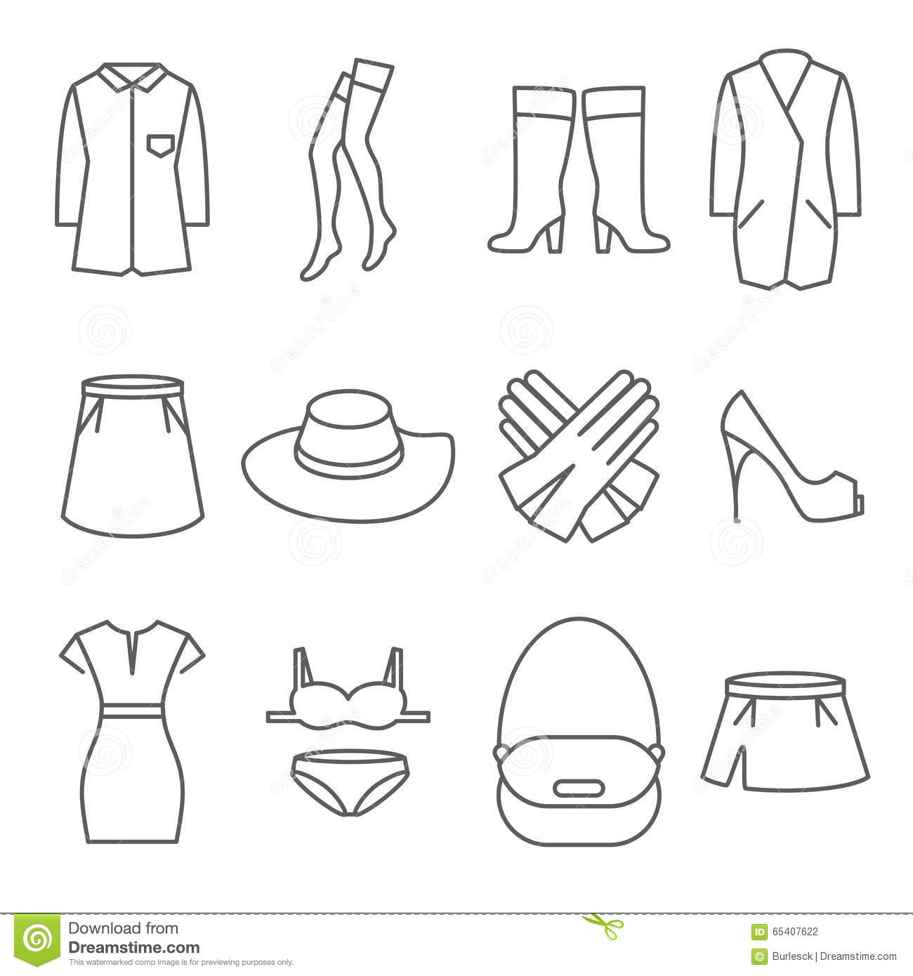 Female Clothes Vector Line Icons Set Stock Vector