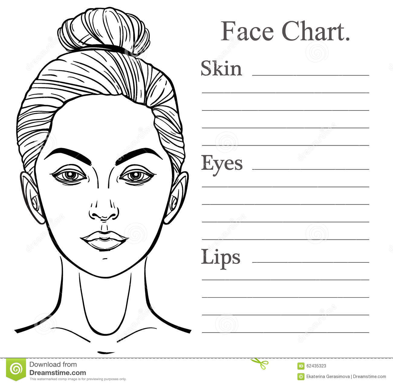 Female Face Chart Make Up Artist Blank Stock Vector