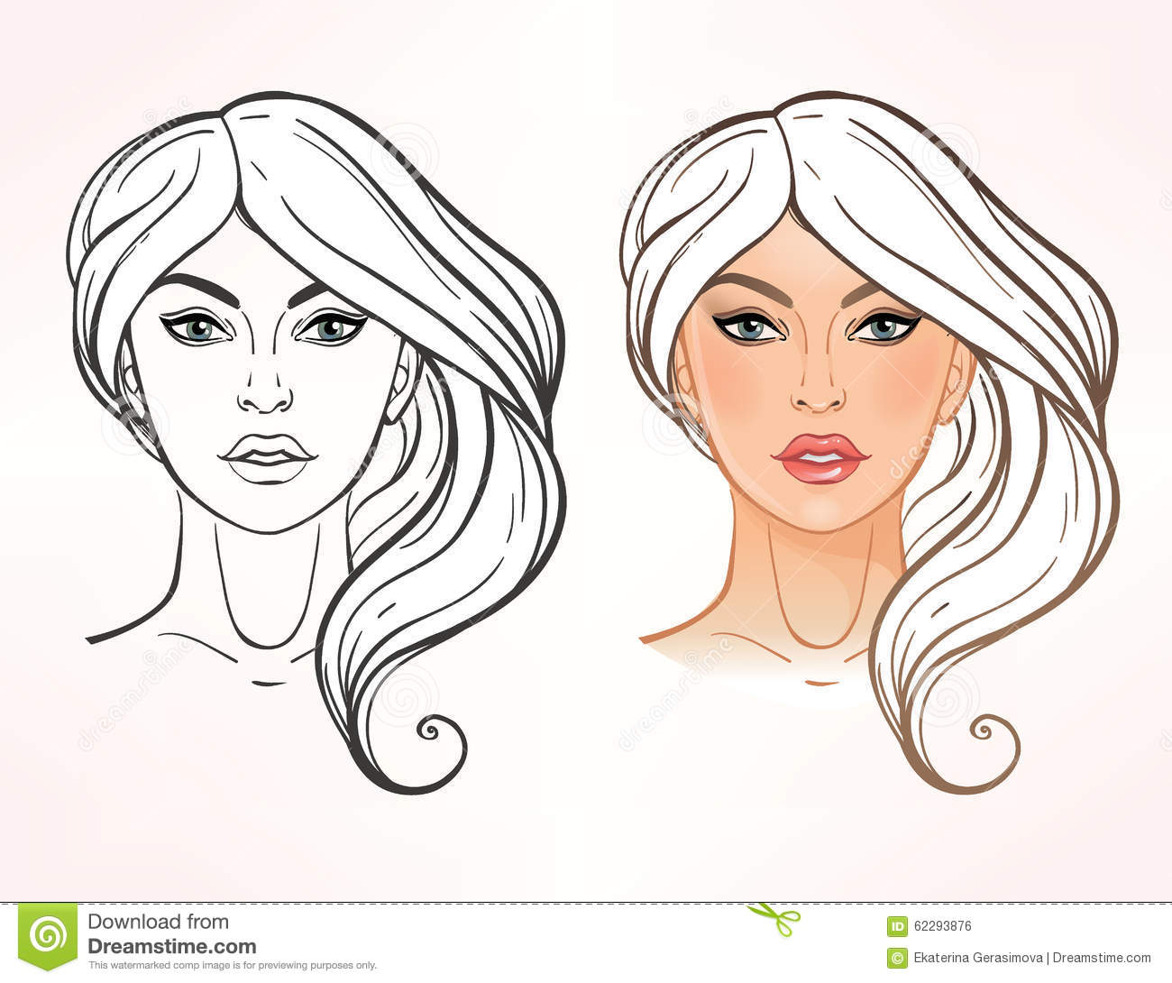 Female Face Chart Makeup Artist Blank Stock Vector