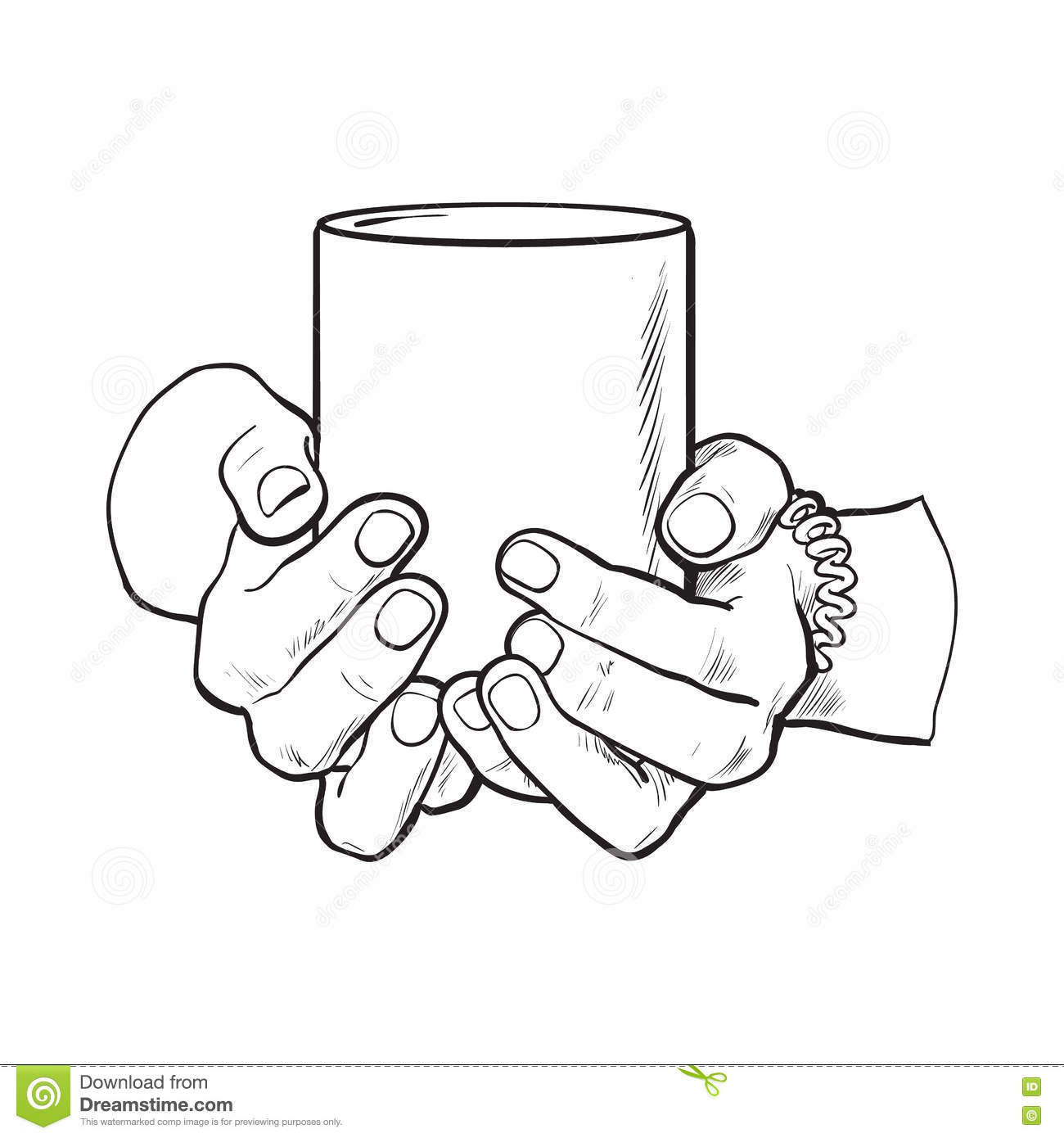 Female Hand Holding A Cup With Hot Beverage Stock Vector