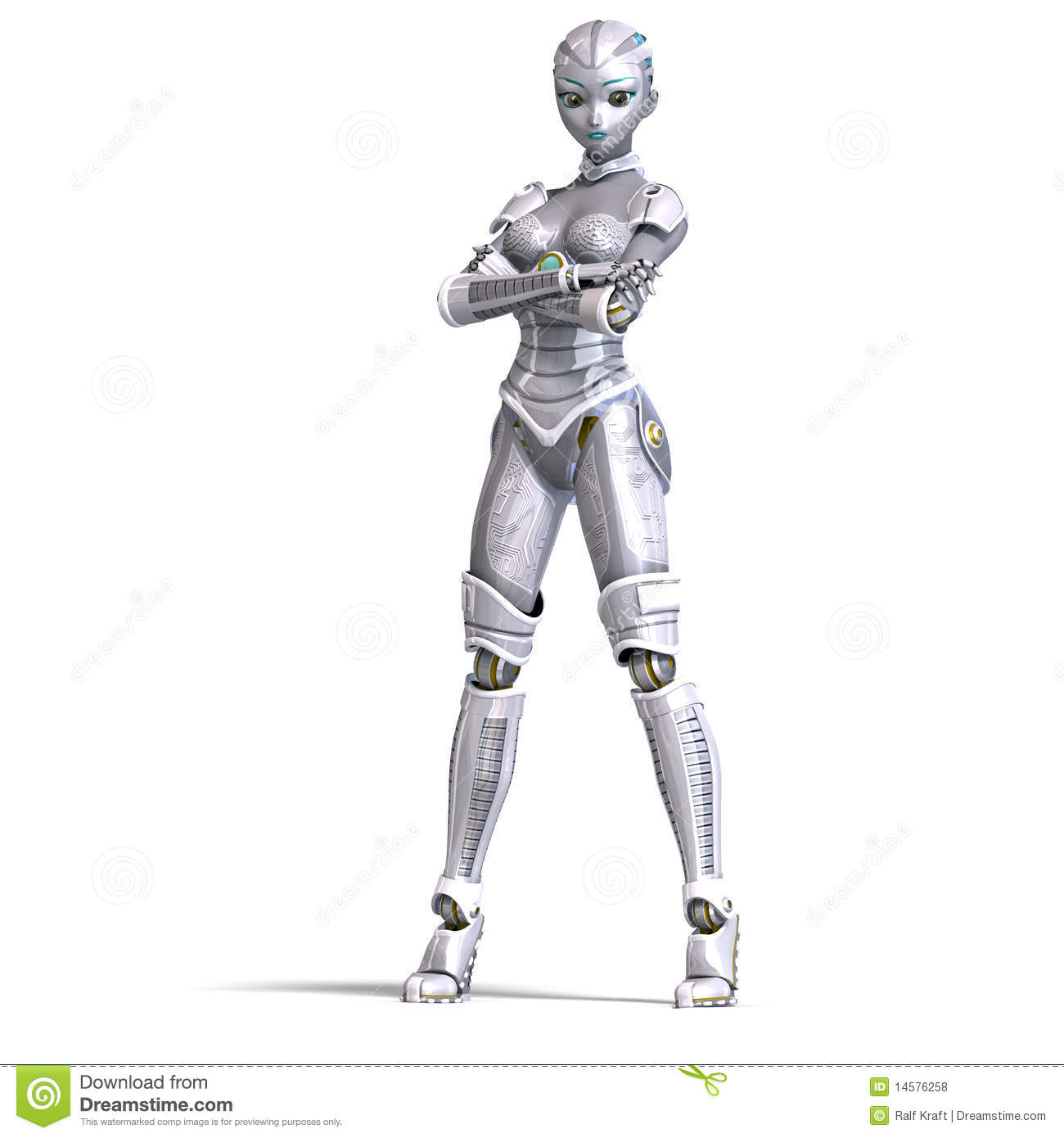Female Metallic Robot 3d Rendering With Stock