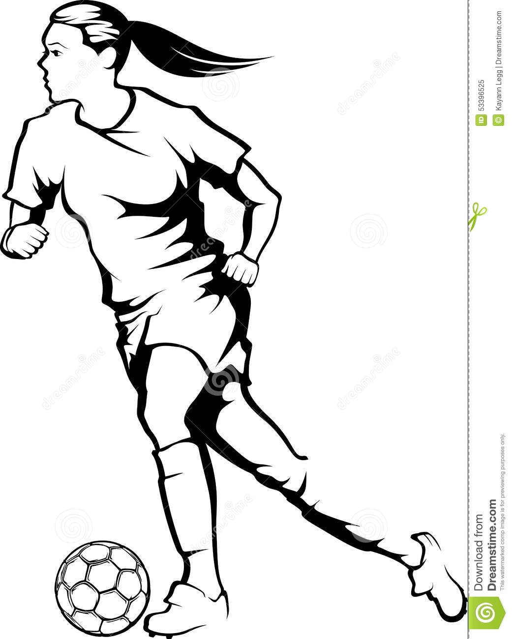 Female Soccer Player Dribbing Stock Vector