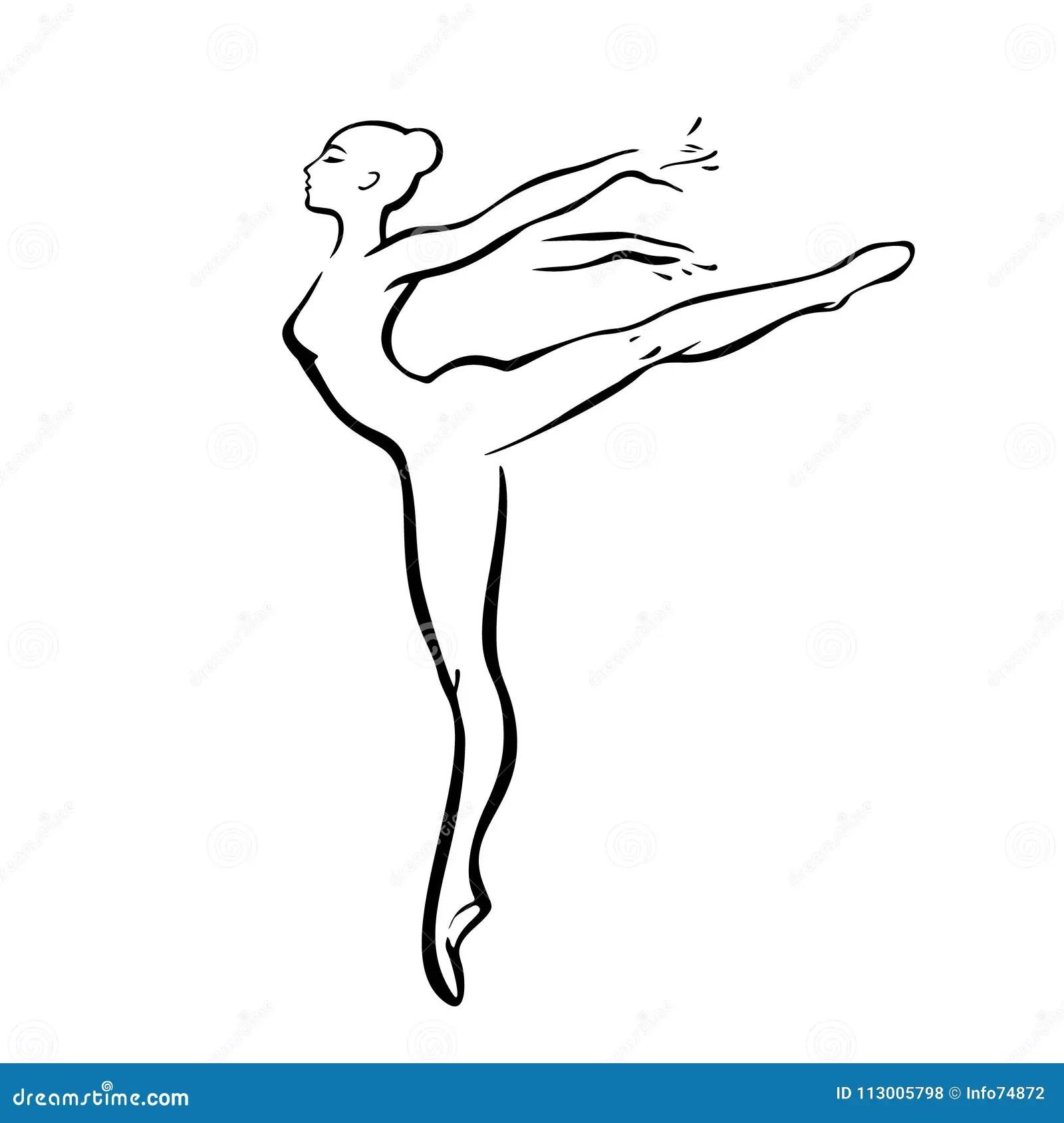 Femme De Silhouette Danse Signe D Ensemble De Ballerines