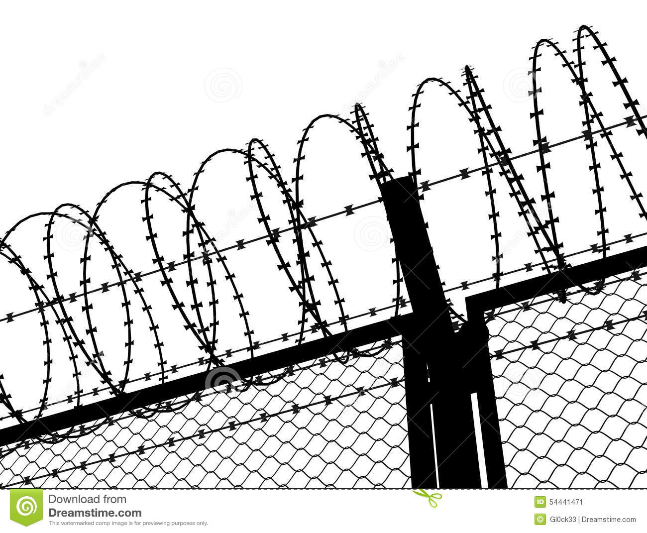 Fence With A Barbed Wire Stock Illustration Illustration