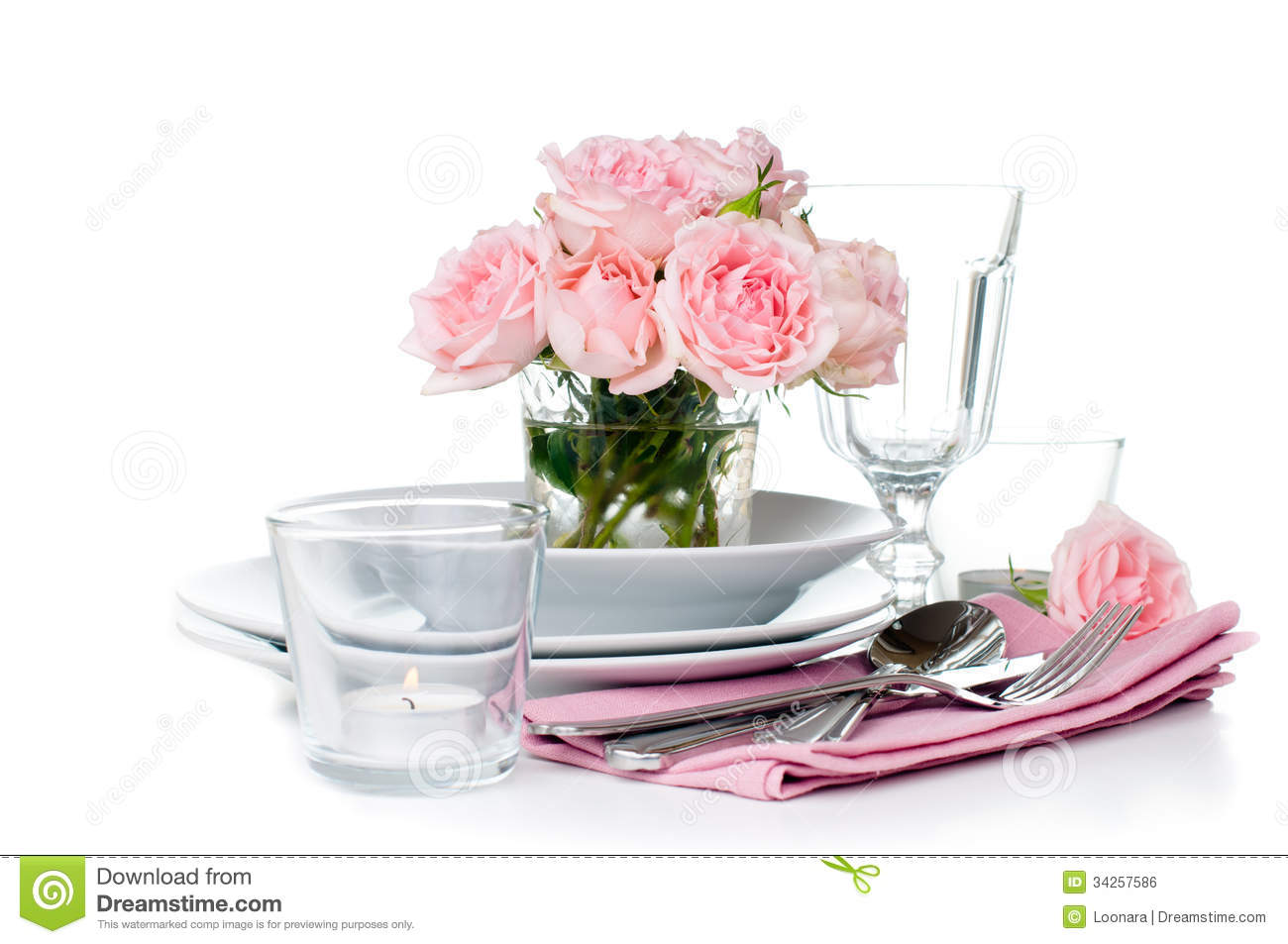 Festive Table Setting With Pink Roses Royalty Free Stock