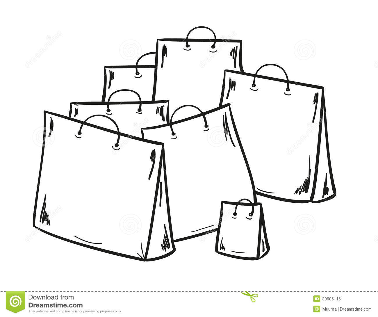 Few Bags For Shopping Stock Vector Illustration Of Draw