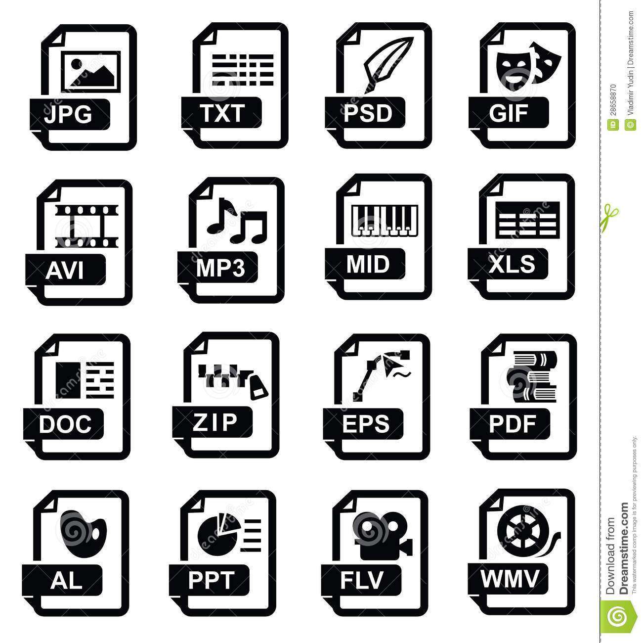 Set Of Archive Extension Icons Cartoon Vector