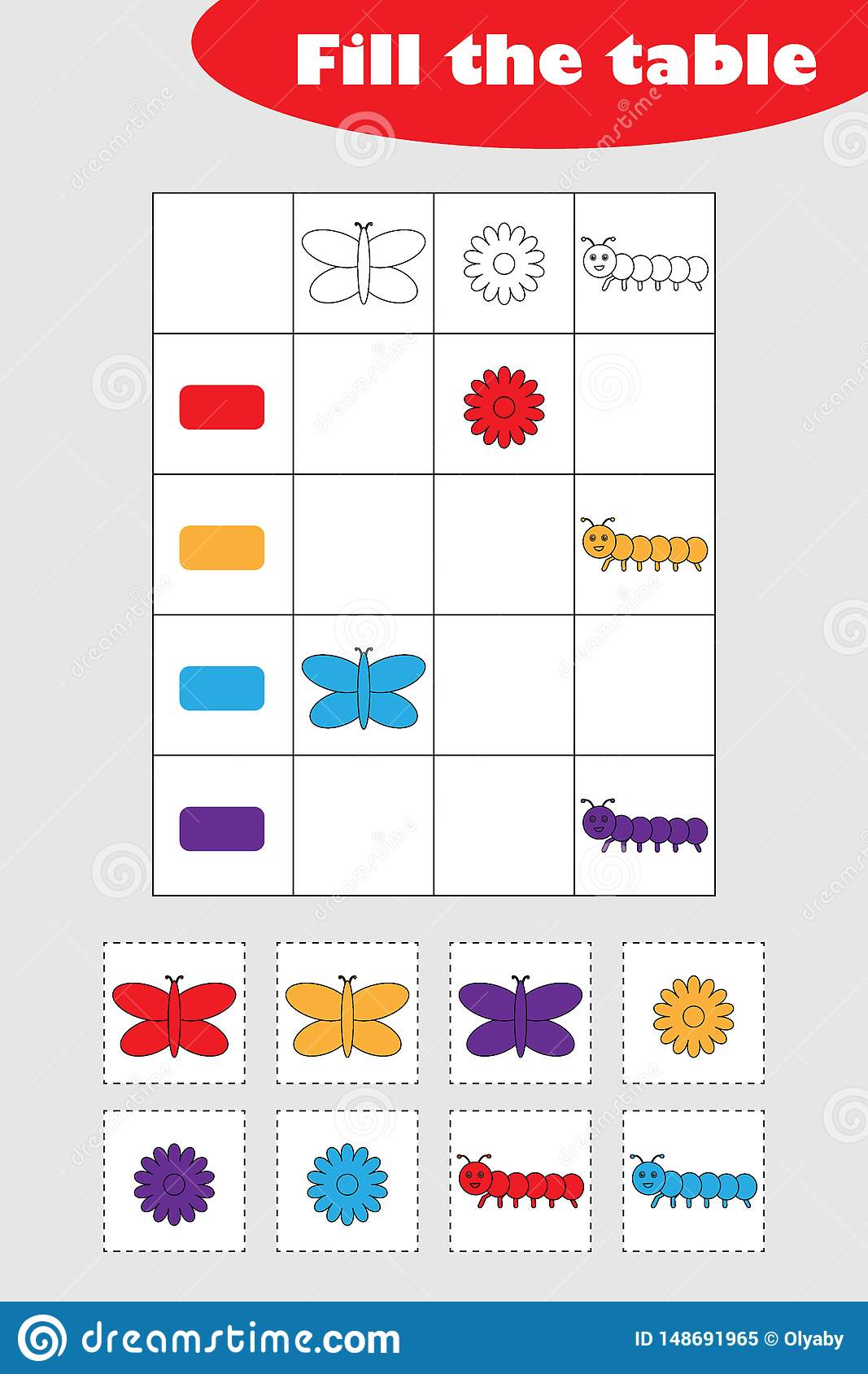 Fill The Table With Colorful Spring Pictures For Children