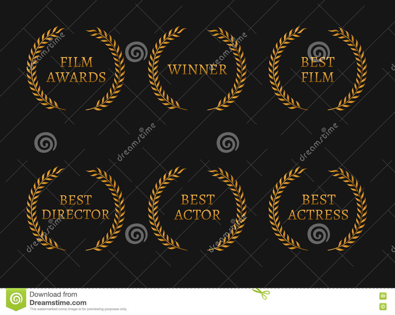 Film Academy Awards Winners And Best Nominee Gold Wreaths On Black Background Cartoon Vector