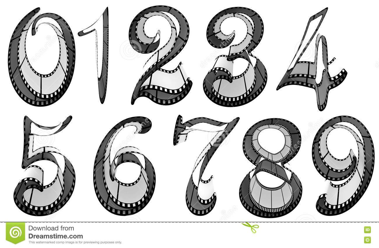 Filmstrip Font Numbers Pack Stock Images
