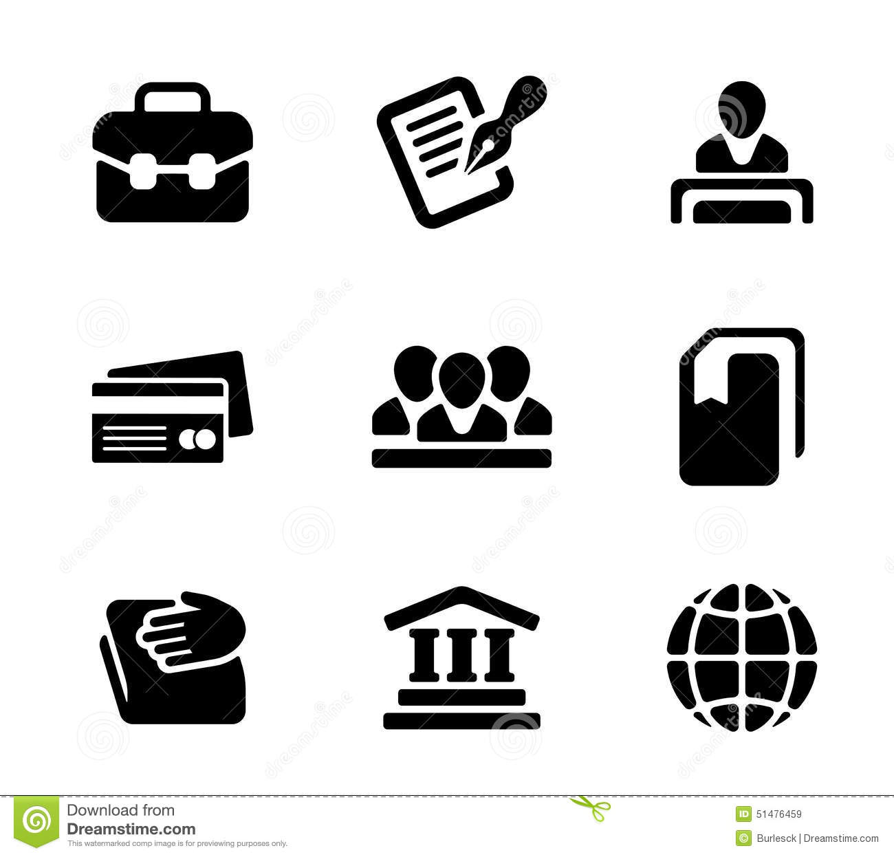 Financial Activity And Business Staff Flat Icons Stock