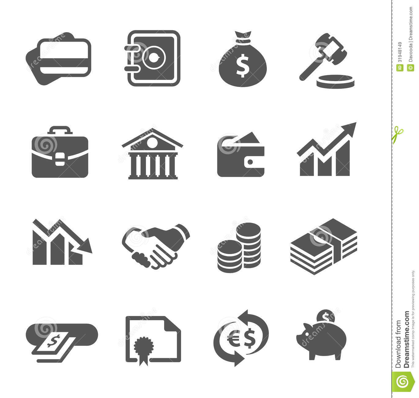 Financial Icons Set Stock Vector Illustration Of Coin