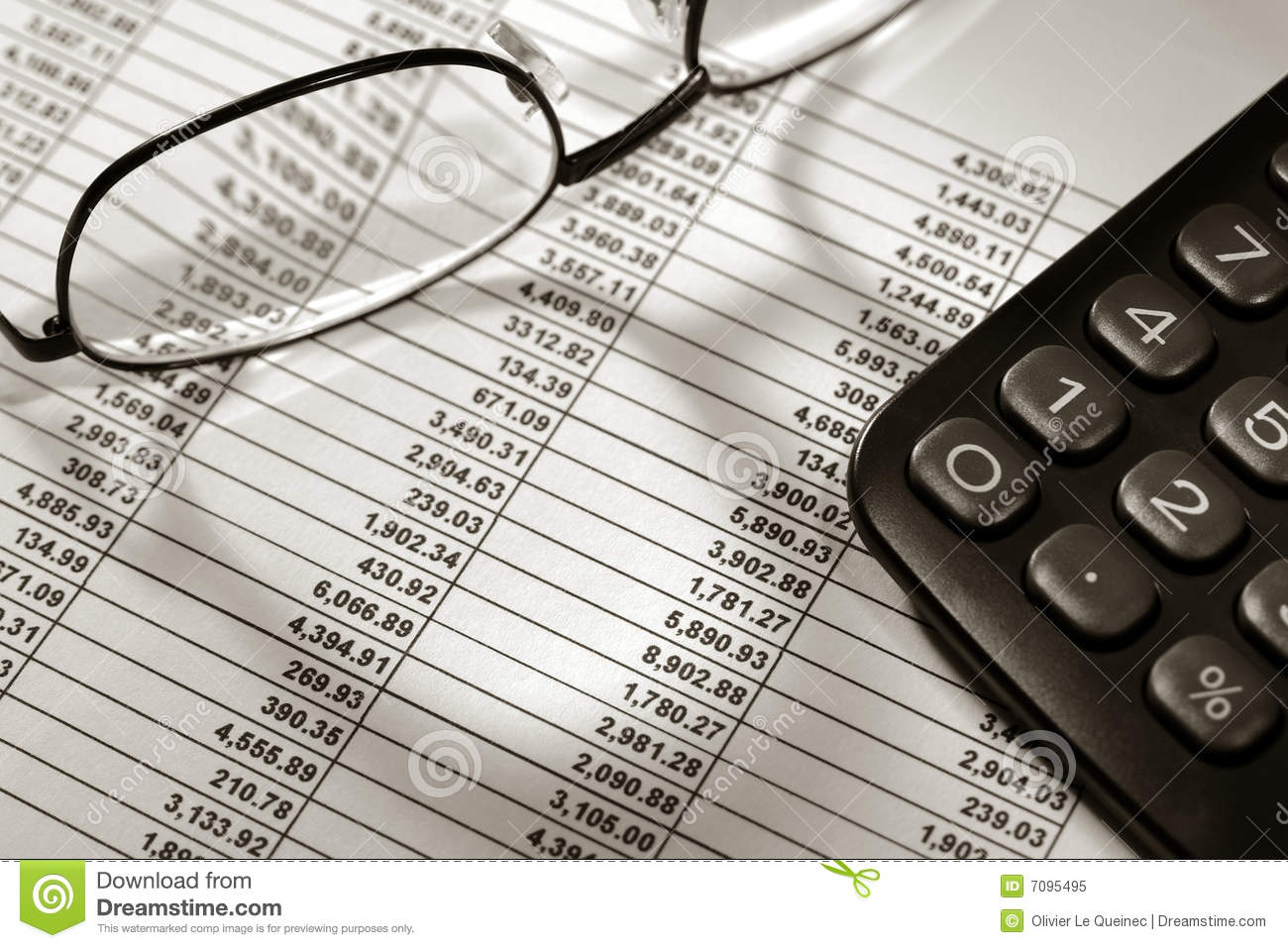 Financial Spreadsheet With Calculator And Glasses Stock Image