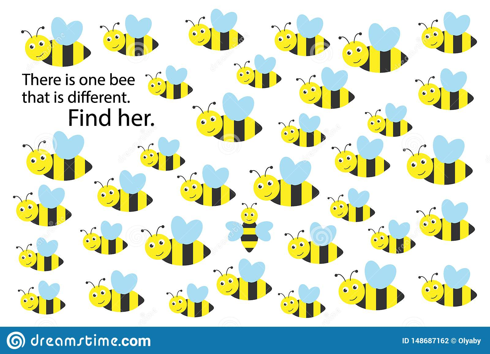 Find Bee That Different Spring Fun Education Puzzle Game