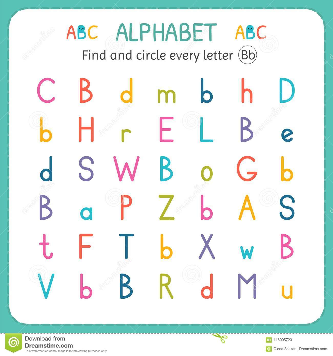 Find And Circle Every Letter B Worksheet For Kindergarten