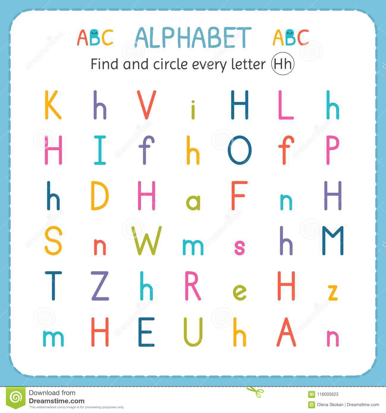 Find And Circle Every Letter H Worksheet For Kindergarten