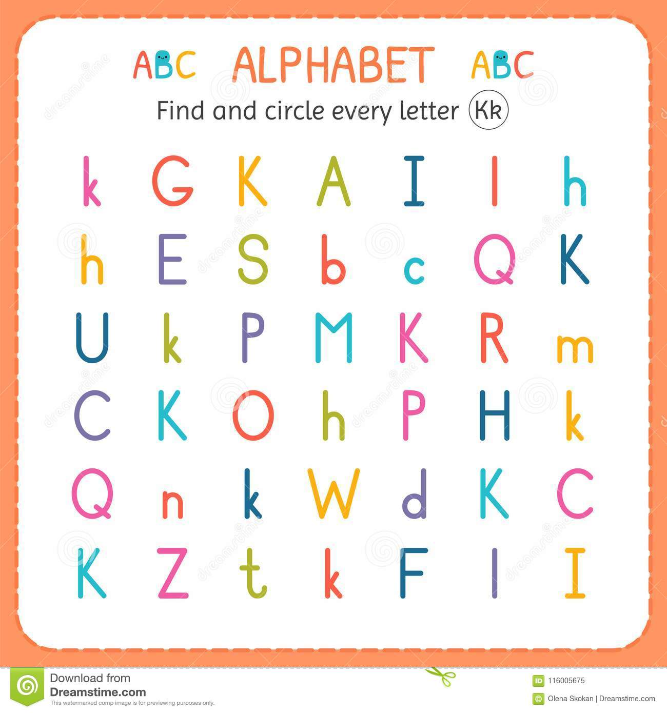 Find And Circle Every Letter K Worksheet For Kindergarten And Preschool Exercises For Children